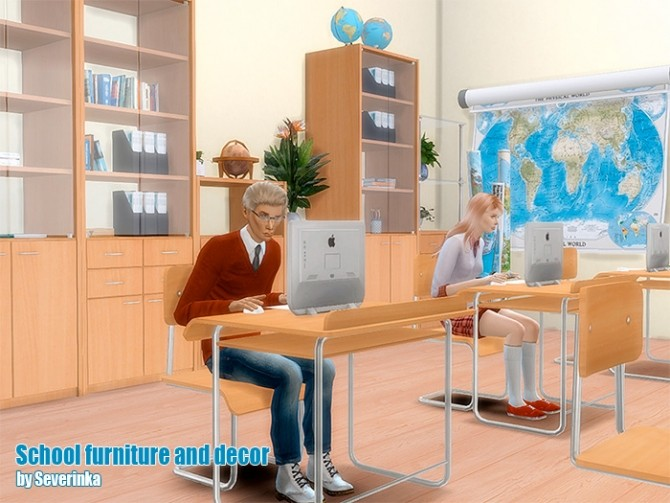 Sims 4 School furniture and decor set 02 at Sims by Severinka