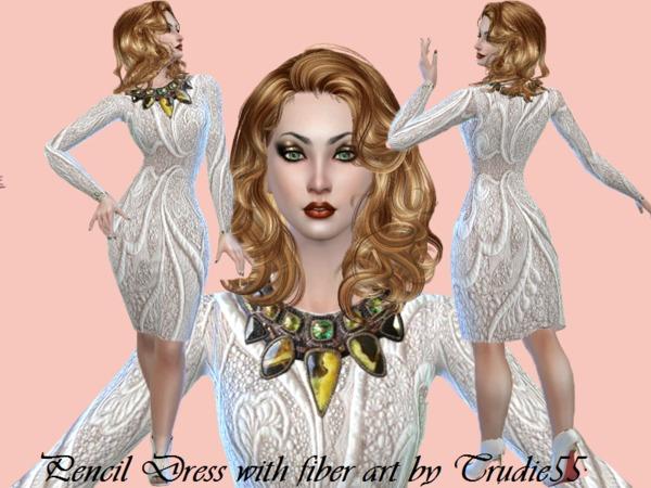 Sims 4 Jeweled fiber Art Pencil dress by Trudie55