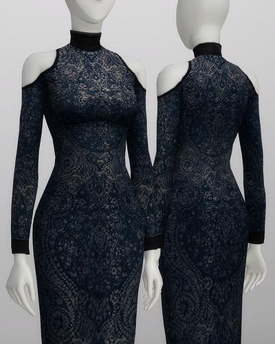 Sims 4 Cut out mid lace dress at Rusty Nail