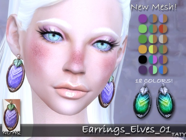 Sims 4 Elves 01 earrings by Taty at TSR