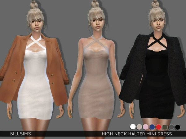 Sims 4 High Neck Halter Mini Dress by Bill Sims at TSR