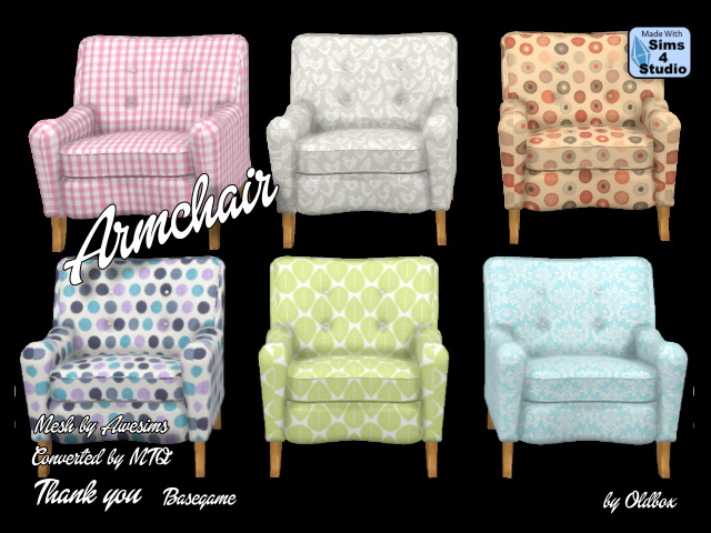 Sims 4 Armchair by Oldbox at All 4 Sims