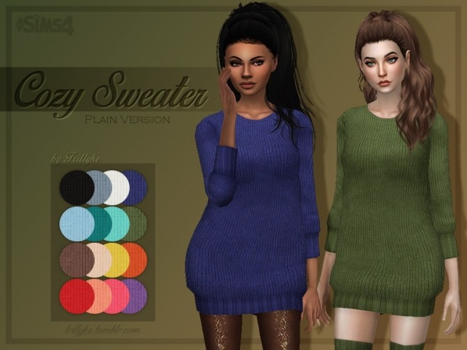 Sims 4 Cozy Sweaters & Thigh High Socks at Trillyke