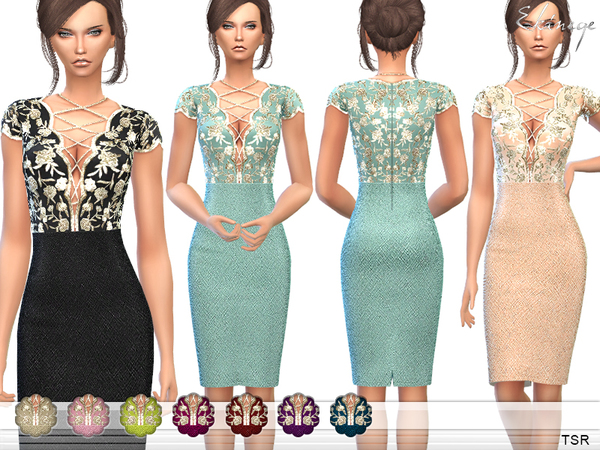 Sims 4 Lace Up Front Embellished Dress by ekinege at TSR