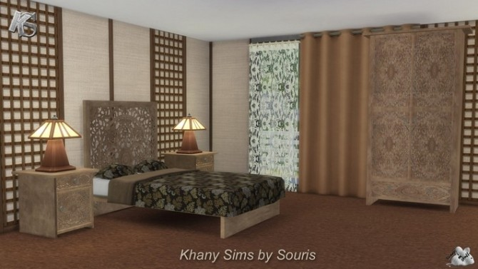 Sims 4 Bedroom MANDARIN by Souris at Khany Sims