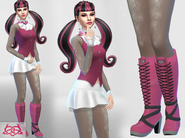 Sims 4 Draculaura set clothes boots by Colores Urbanos at TSR
