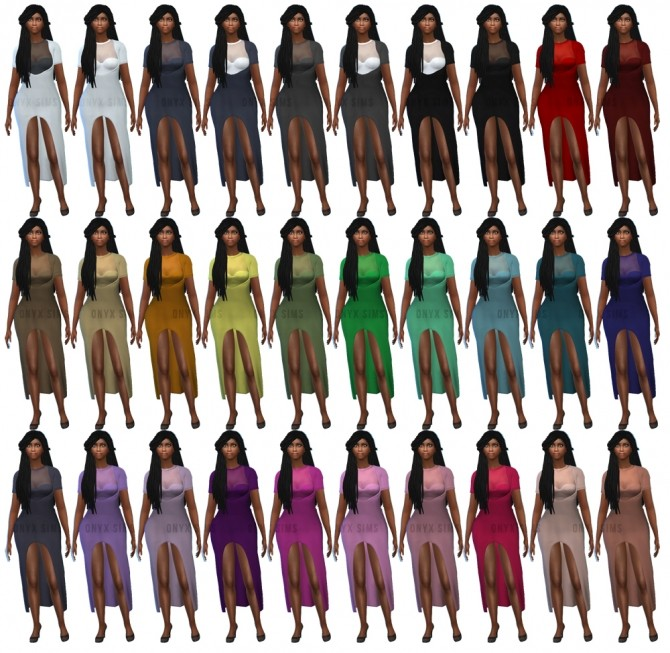 Sims 4 Lynxsimzs High Low Cut Dress Recolors at Onyx Sims