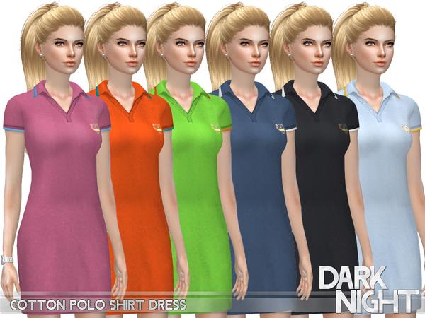 Sims 4 Cotton Polo Shirt Dress by DarkNighTt at TSR