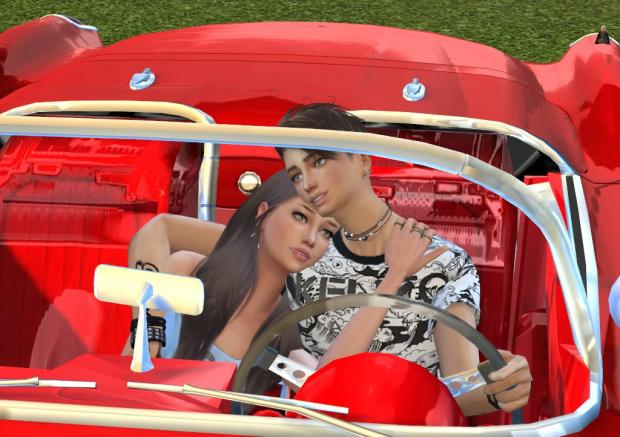 Sims 4 Car Couple Posepack at Chaleara´s Sims 4 Poses