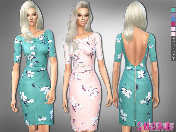 222 Floral medium dress by sims2fanbg at TSR image 3718 Sims 4 Updates