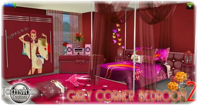 Sims 4 Girly corner bedroom 2 at Jomsims Creations