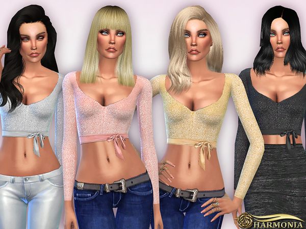 Wrapped Cut Out Sequin Crop Top by Harmonia at TSR image 4421 Sims 4 Updates