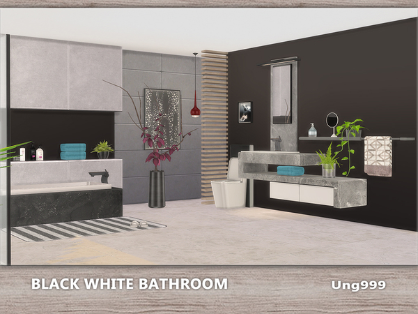Sims 4 Black White Bathroom by ung999 at TSR