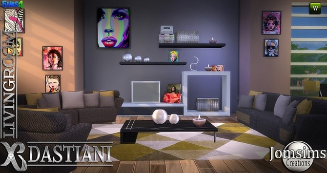 Dastiani living room at jomsims creations sims 4 updates for Sims 4 meuble a telecharger