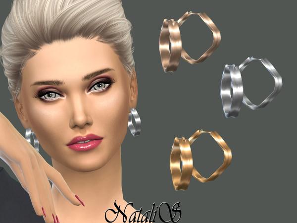 Hoop rectangular erarrings by NataliS at TSR image 528 Sims 4 Updates