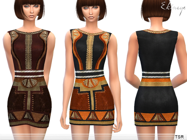 Sims 4 Patchwork Suede Dress by ekinege at TSR