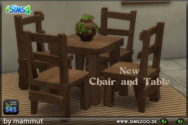 Sims 4 Chair and table by mammut at Blacky's Sims Zoo