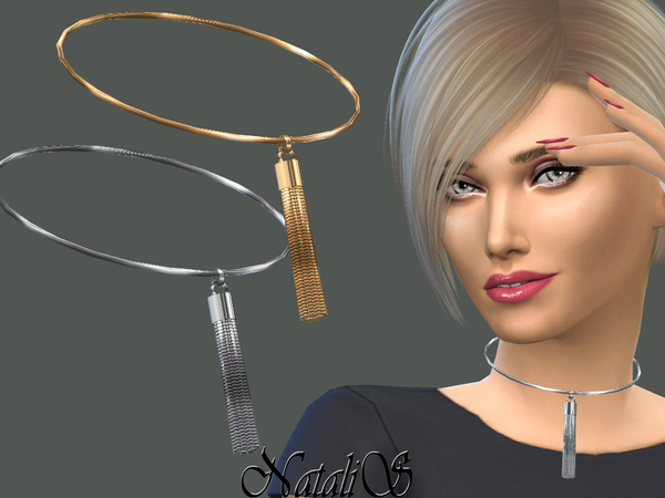 Sims 4 Choker with Chain Tassel by NataliS at TSR