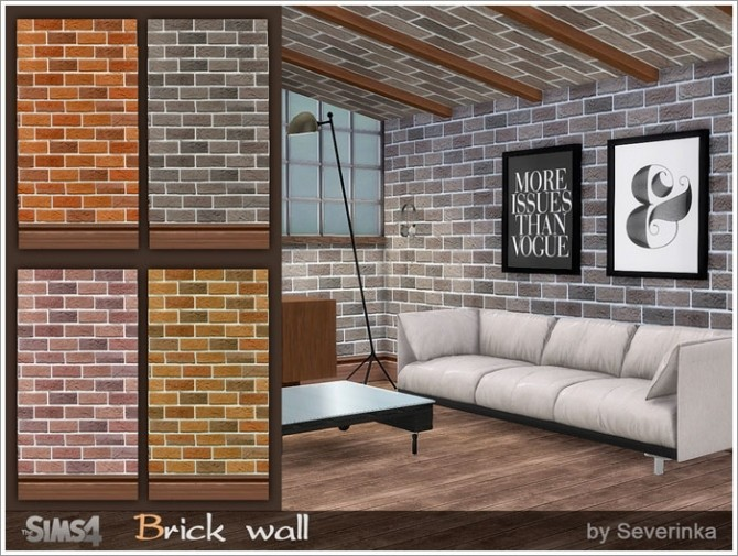 Sims 4 Brick wall at Sims by Severinka