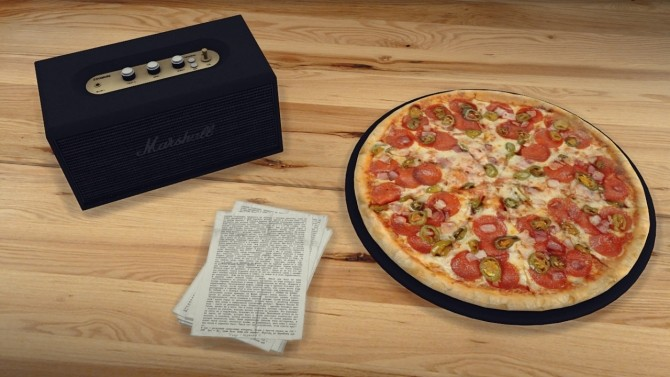Sims 4 Marshall Stanmore recolors + Pizza + Stack of papers at MXIMS