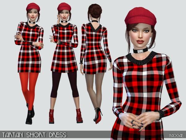 Tartan Short Dress by Paogae at TSR image 5915 Sims 4 Updates