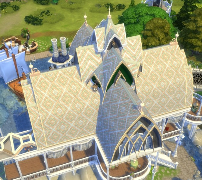Sims 4 Rivendell mosaic roof tiles by Velouriah at Mod The Sims