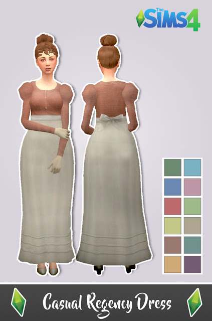 Sims 4 Casual Regency Dress by Anni K at Historical Sims Life