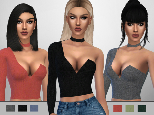 Sims 4 Choker Top by Puresim at TSR