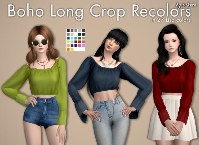 Sims 4 Boho Long Crop Recolors at Tukete