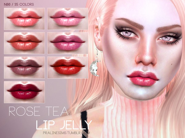 Sims 4 Rose Tea Lip Jelly N86 by Pralinesims at TSR