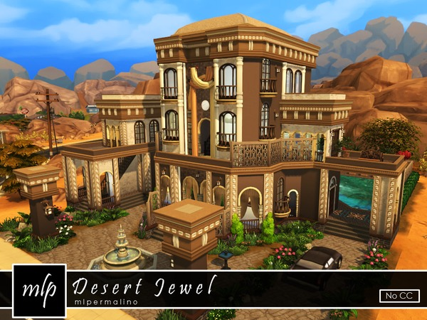 Sims 4 Desert Jewel home by mlpermalino at TSR