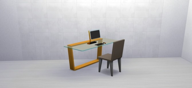 Sims 4 The Cantilevered Glass Desk by MrMonty96 at Mod The Sims