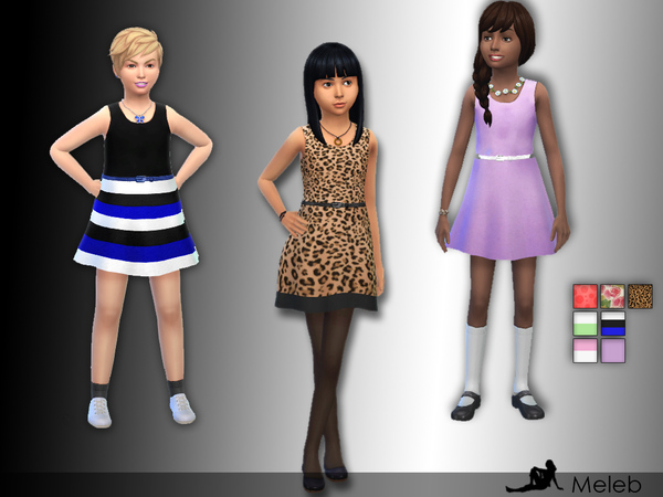 Sims 4 Kids A line Summer Dress by meleb at TSR
