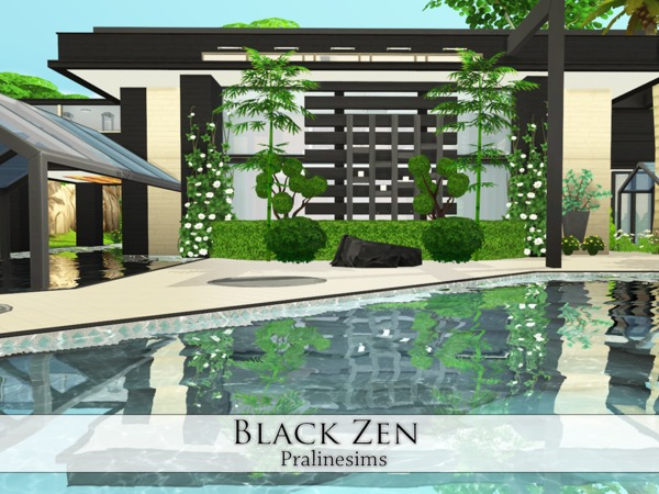 Sims 4 Black Zen house by Pralinesims at TSR