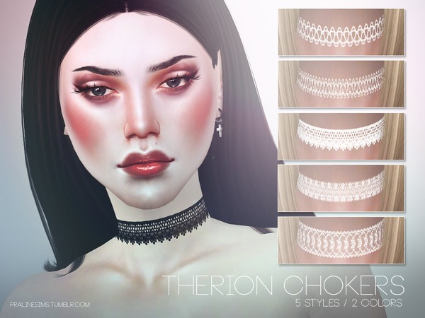 Sims 4 Therion Chokers by Pralinesims at TSR