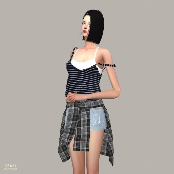 Sims 4 Double Free Sleeveless Unbalance Strap at Marigold