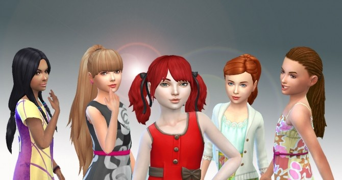 Sims 4 5 Girls Tied Hairs Pack 2 at My Stuff