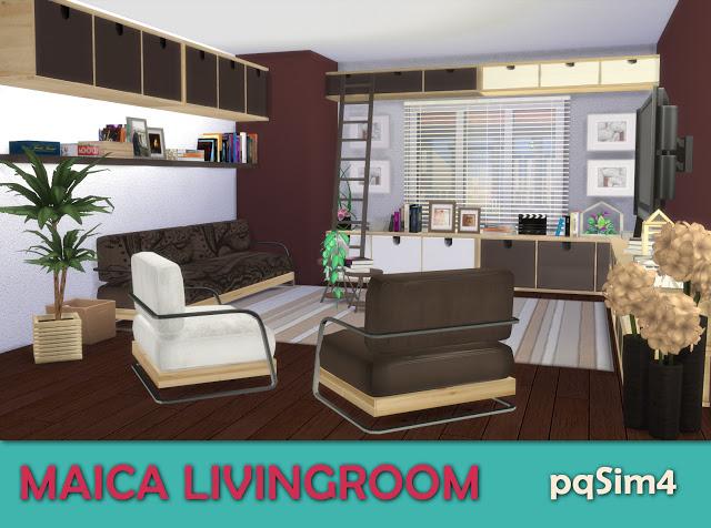Sims 4 Maica livingroom by Mary Jiménez at pqSims4