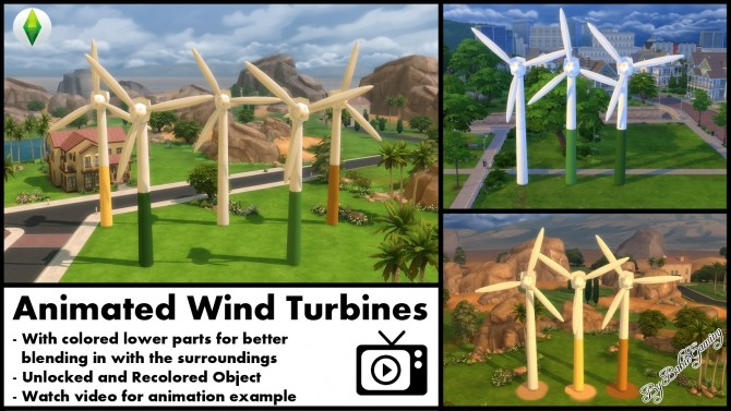 Sims 4 Animated Wind Turbine by Bakie at Mod The Sims