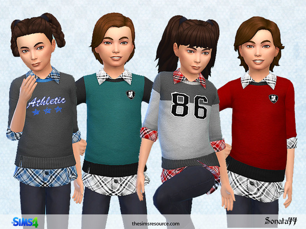 Sims 4 Modern top 2 in 1 for children by Sonata77 at TSR