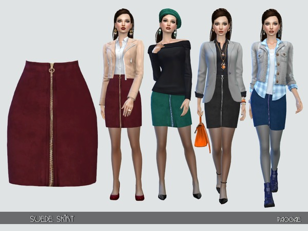 Suede Skirt by Paogae at TSR image 1160 Sims 4 Updates