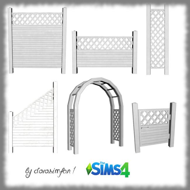 Sims 4 4 decorative fences, 1 arch and 1 garden gate by dorosimfan1 at Sims Marktplatz