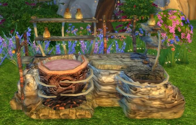 Sims 4 CS Shaman Potion Station as a Grill by BigUglyHag at SimsWorkshop