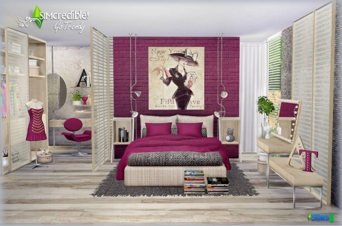 Sims 4 Go Trendy bedroom & Add ons (Free + Pay) at SIMcredible! Designs 4