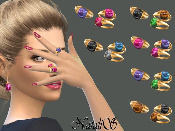 Sims 4 Cabochon rings set by NataliS at TSR