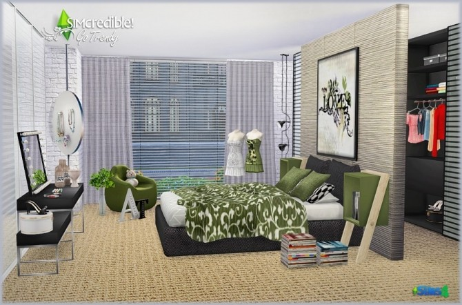 Go trendy bedroom add ons free pay at simcredible for Bedroom designs sims 4