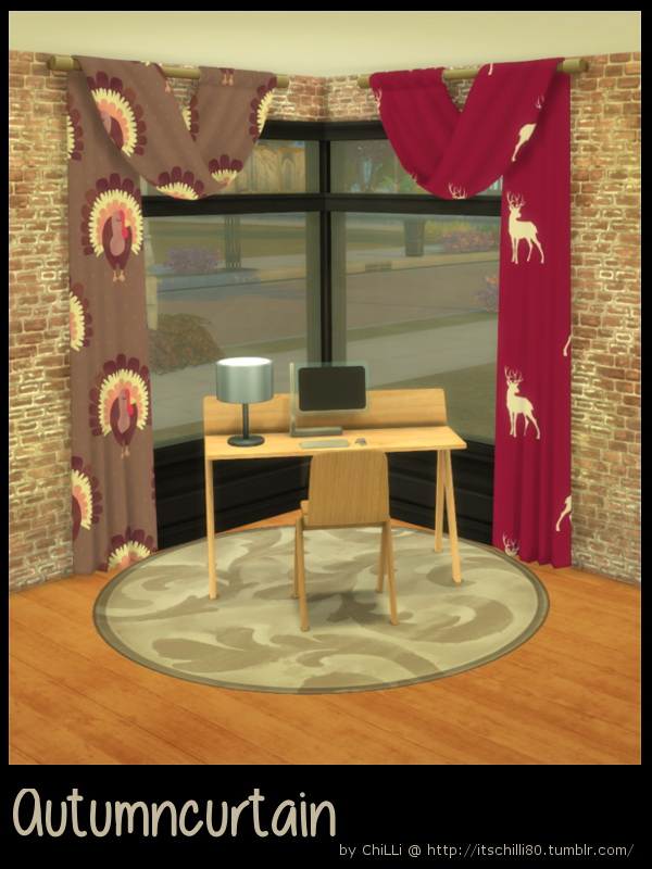 Autumn curtain at ChiLLis Sims image 13212 Sims 4 Updates