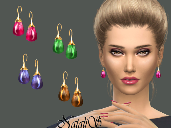 Sims 4 Cabochon earrings by NataliS at TSR