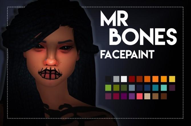 Sims 4 Mr Bones Facepaint by Weepingsimmer at SimsWorkshop