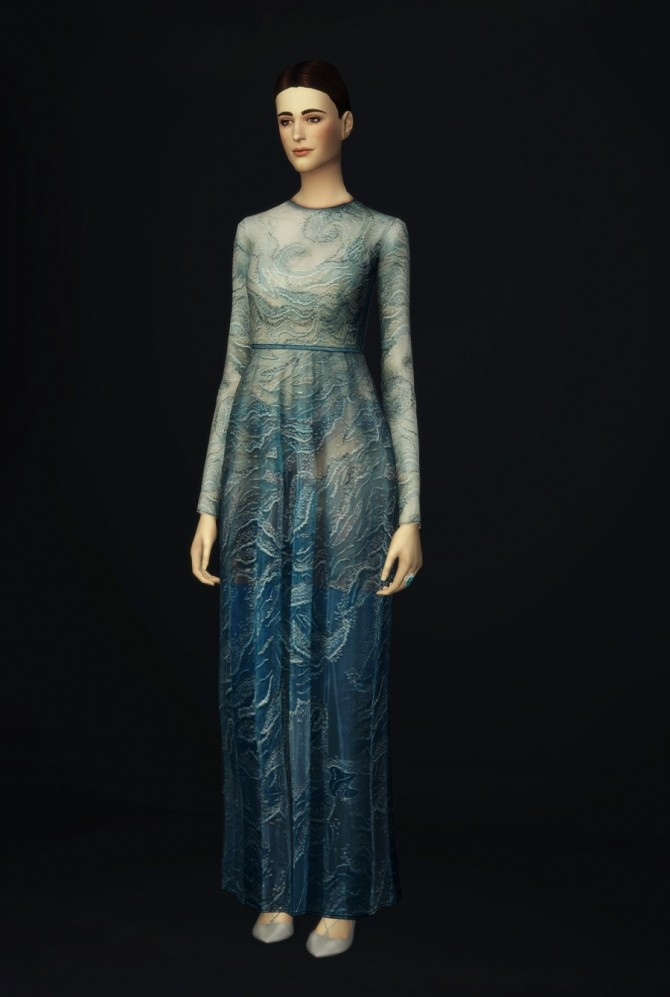 Glitter blue wave gown at Rusty Nail image 1431 670x997 Sims 4 Updates